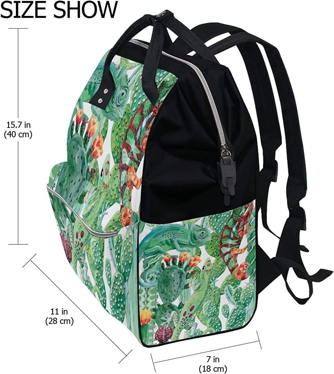 imobaby Funny Watercolor Chameleon And Cactus Changing Bags Large Capacity Handbags Canvas Shoulder Bag Backpack