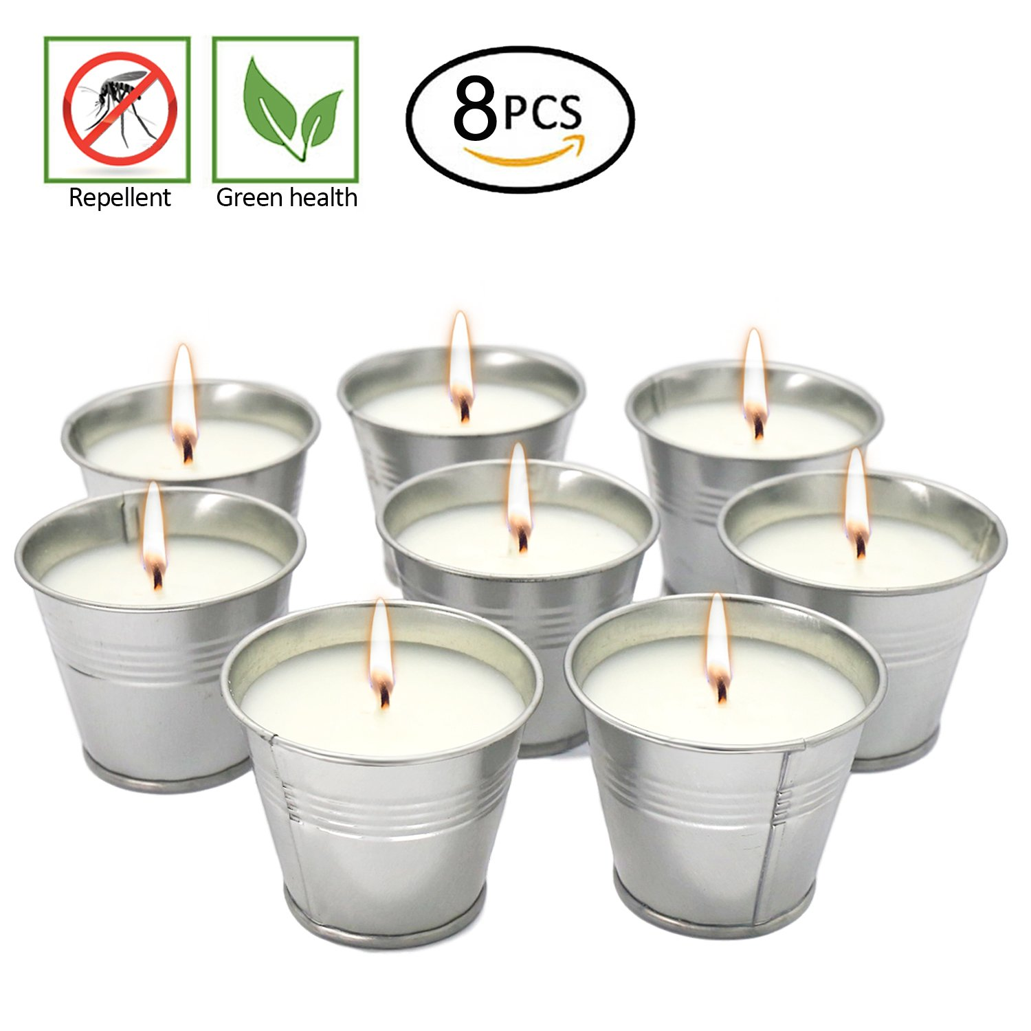 YIH Citronella candles,Wax Bucket Candle Seaside Escape 8-Pack
