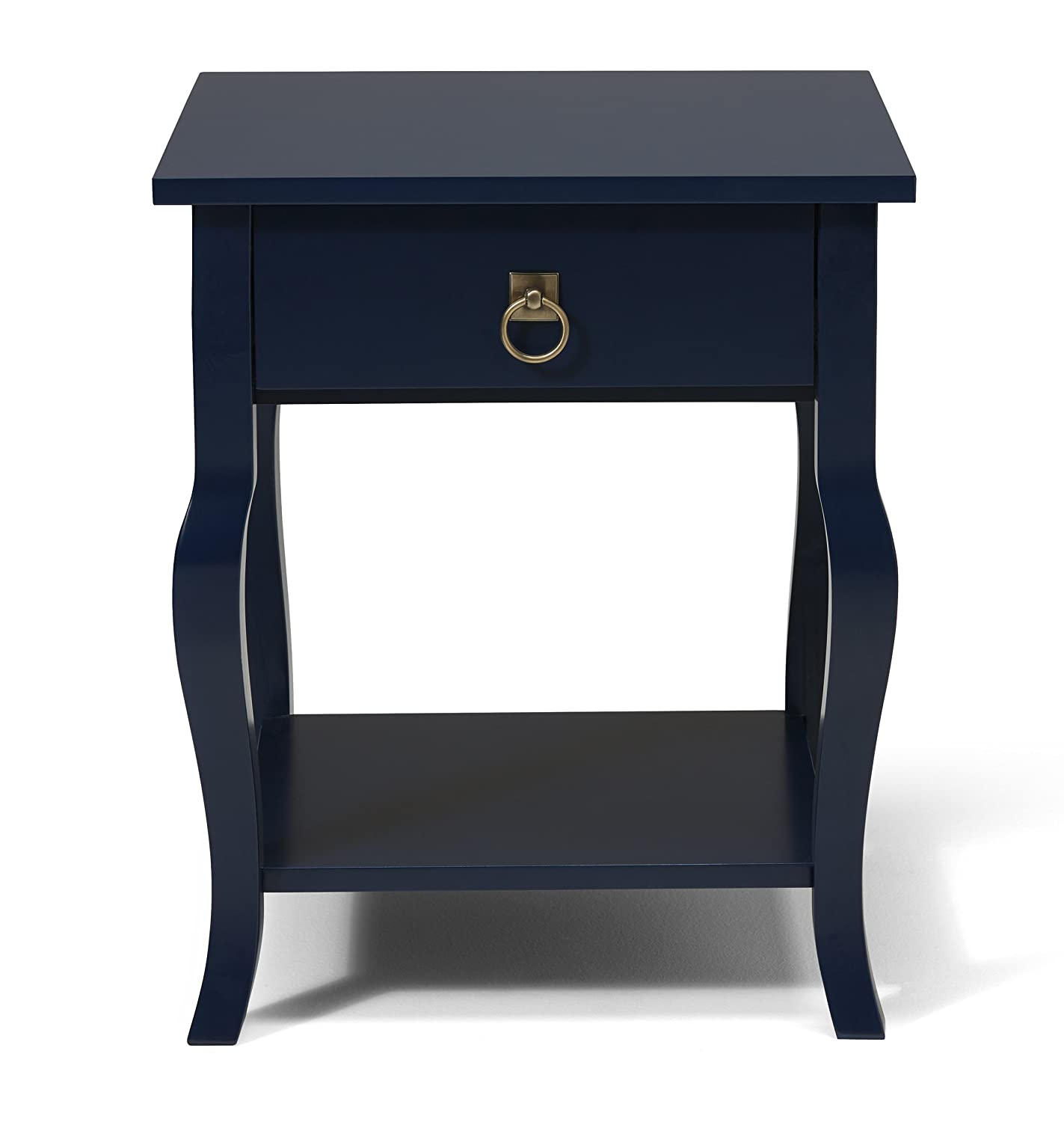 Amazon kate and laurel lillian wood side table curved legs amazon kate and laurel lillian wood side table curved legs with drawer and shelf 20 x 20 x 24 navy blue kitchen dining geotapseo Choice Image
