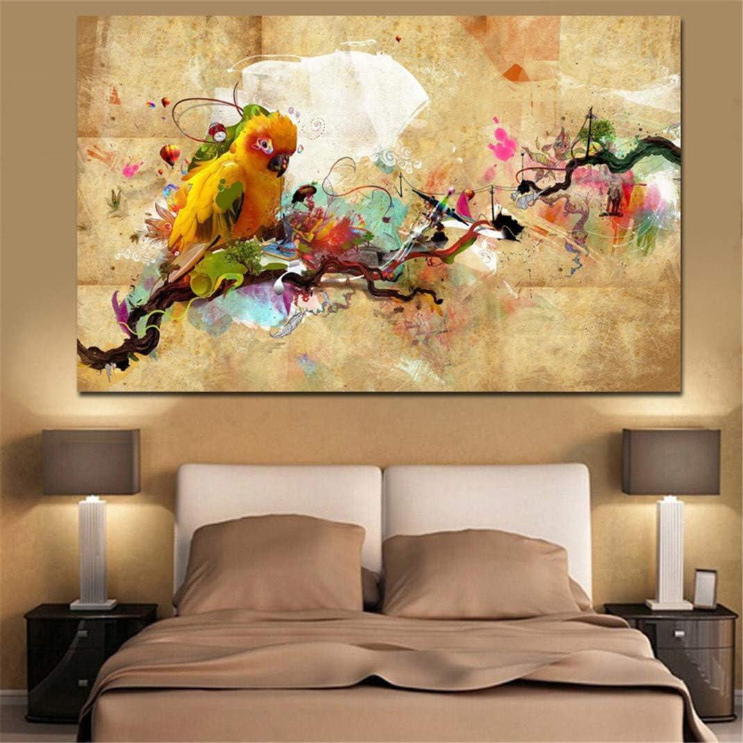 Impresión HD Acuarela Pintura al óleo Loro Animal Cuadro en Lienzo, Cuadros Modernos Salón Decoracion de Pared Canvas Prints, Wall Art Modular Poster Mural Decorativo,60x90cm