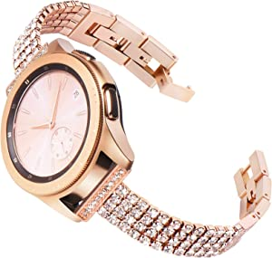 Fullife Compatible for Samsung Galaxy Watch Active 2 Bands 40mm 44mm Women Diamond Bracelet Replacement for Galaxy Watch 42mm Band Galaxy Watch 3 41mm Smart Watch, Rose Gold