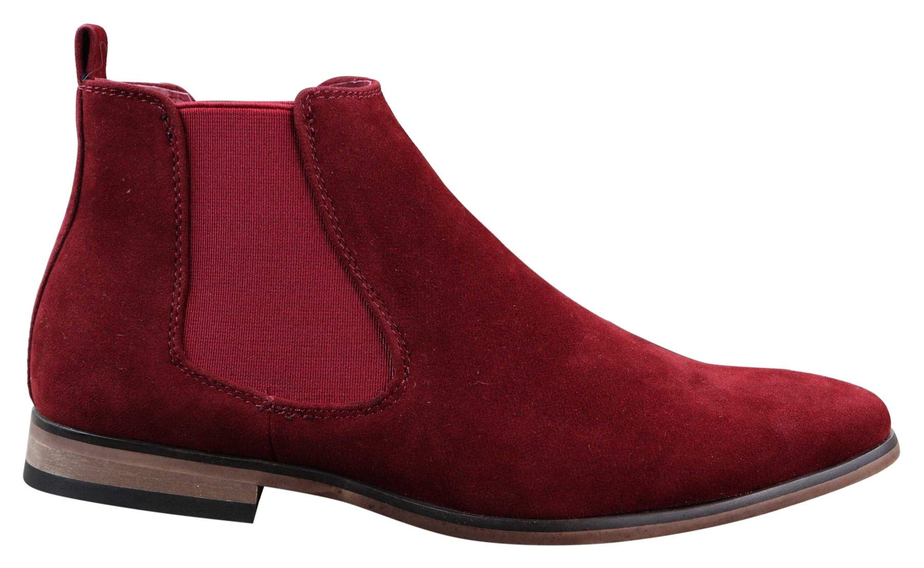 Mens Brown Italian Suede Chelsea Ankle Boots Smart Casual Desert Dealer Slip On