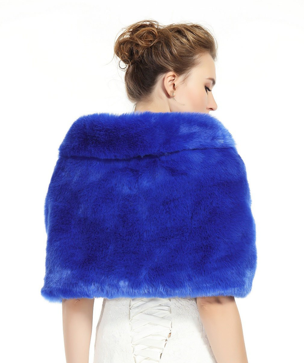 Faux Fur Shawl Wrap Stole Shrug Winter Bridal Wedding Cover Up Royal Blue Size M by MISSYDRESS (Image #4)