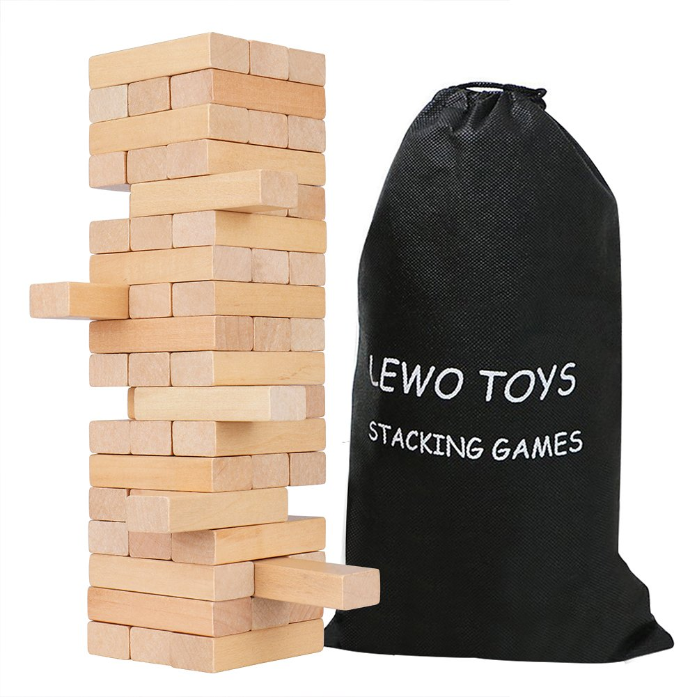 Lewo Beech Wooden Stacking Game Tumble Tower Deluxe Building Blocks 54 pieces with Storage Bag (beech blocks)