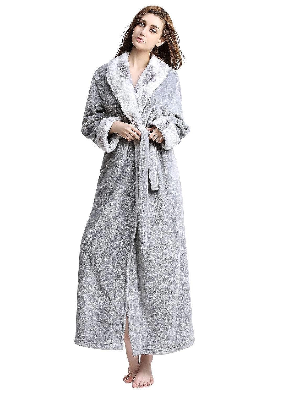 Women Fleece Dressing Gown Sleepwear Soft Pajamas Top Long Womens Winter Robes Warm Housecoats Bathrobe mNn8v0wO