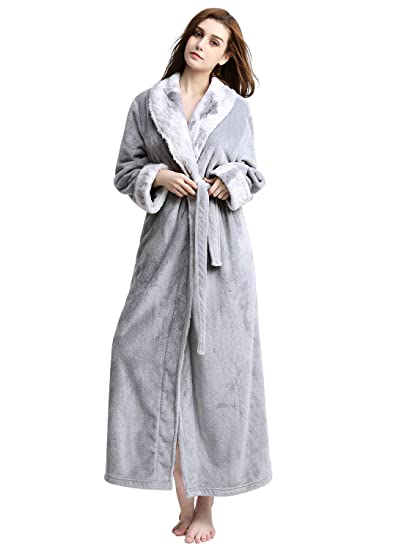 Bath Robe Long For Womens Plush Soft Warm Fleece Bathrobes Sleepwear