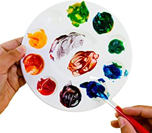 White Plastic Artist Round Paint Palettes Wheel Color Tray Cavity Non-Stick Trays 10 Slot for Watercolor, Acrylic, Oil Paints (12 Pack, 6.75