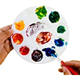 "White Plastic Artist Round Paint Palettes Wheel Color Tray Cavity Non-Stick Trays 10 Slot for Watercolor, Acrylic, Oil Paints (12 Pack, 6.75"") by Super Z Outlet"
