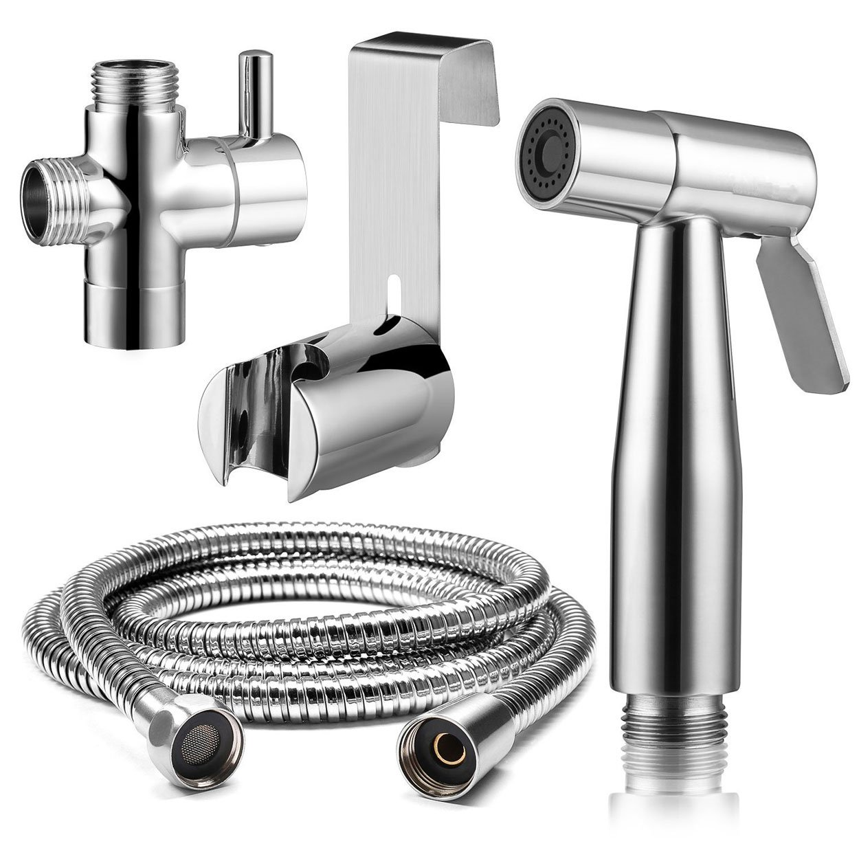 Handheld Toilet Bidet Sprayer Set Pipe Shattaf Water Cleaner Cloth Diaper Sprayer for Toilet Attachment with Water Pressure Control Hose and T Valve-Chrome Ginbel Direct