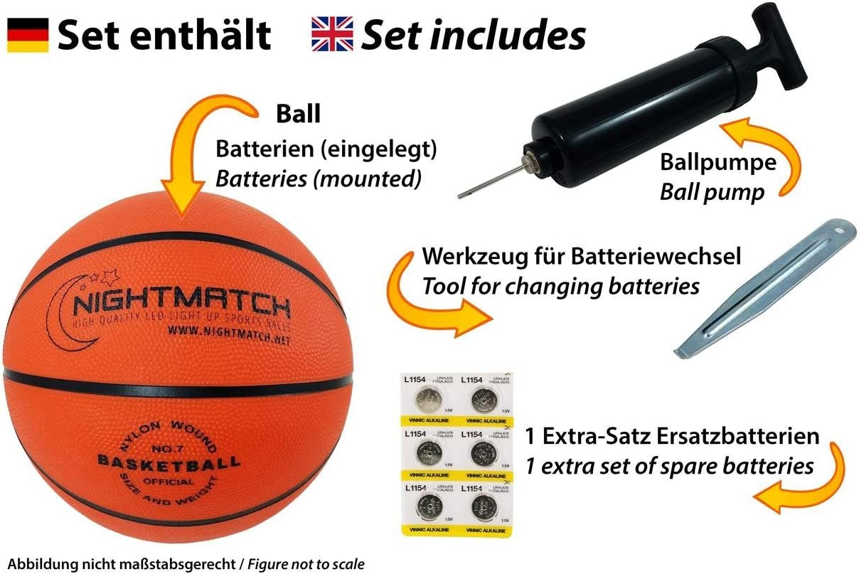 Inside LED Lights up When Bounced Ball Pump and Spare Batteries NIGHTMATCH Light Up Basketball Night Sports INCL Black Edition Size 7 Glow in The Dark Basketball Official Size /& Weight