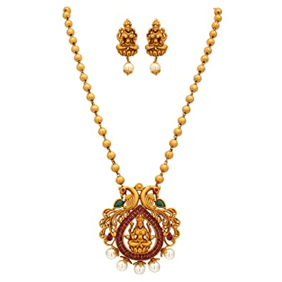 eb41be0a1 Sasitrends CZ/AD Stone Matte Finishing Lakshmi Design Necklace with  Earrings for Women and Girls