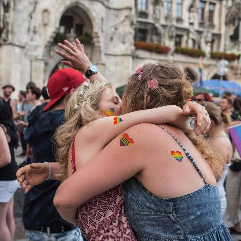 COOPER FUNCOOPER FUN32 pcs Gay Pride Rainbow pegatinas tatuaje ...