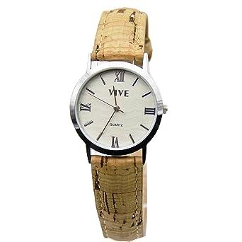 Reloj De Corcho Natural y Bambú Hecho A Mano, Reloj Unisex para Mujer-Hombre