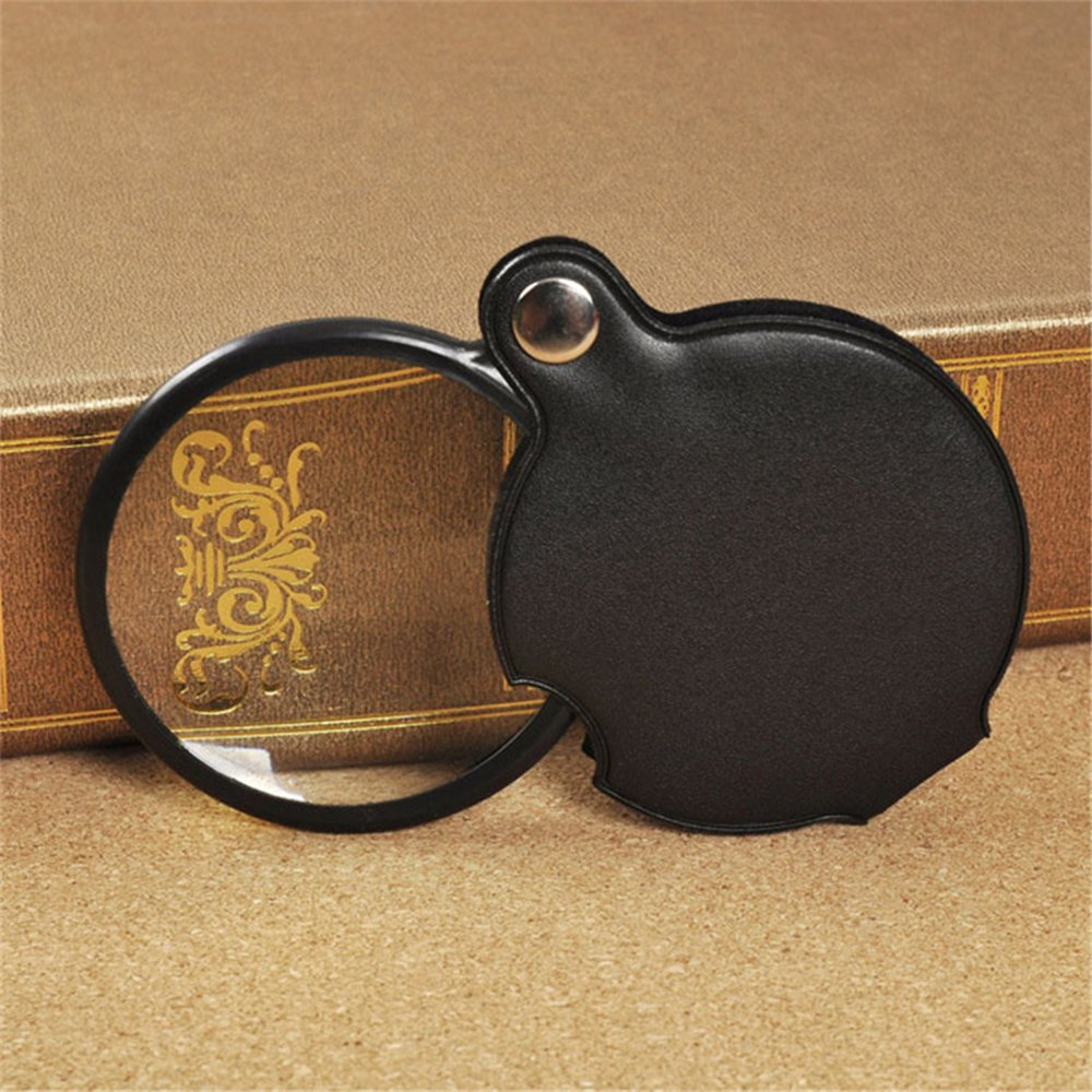 BreaDeep 60mm 5X Pocket Folding Magnifier Loupe Magnifying Glass with Leather Case (Black)