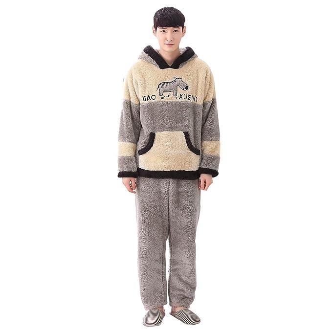Invierno de los hombres con capucha de dibujos animados lindo potro más grueso franela calentador pijama