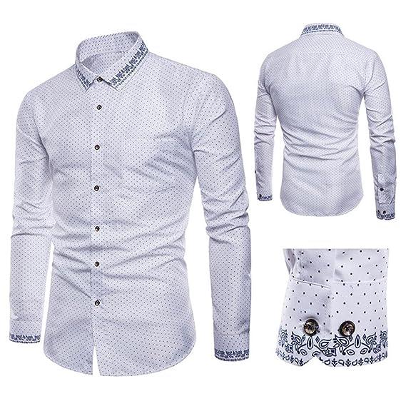 Blusa Hombre Yesmile Camiseta Manga Larga para Hombre Oxford Trajes Formales Casuales Slim Fit tee Camisas de Vestir Blusa Top: Amazon.es: Ropa y accesorios