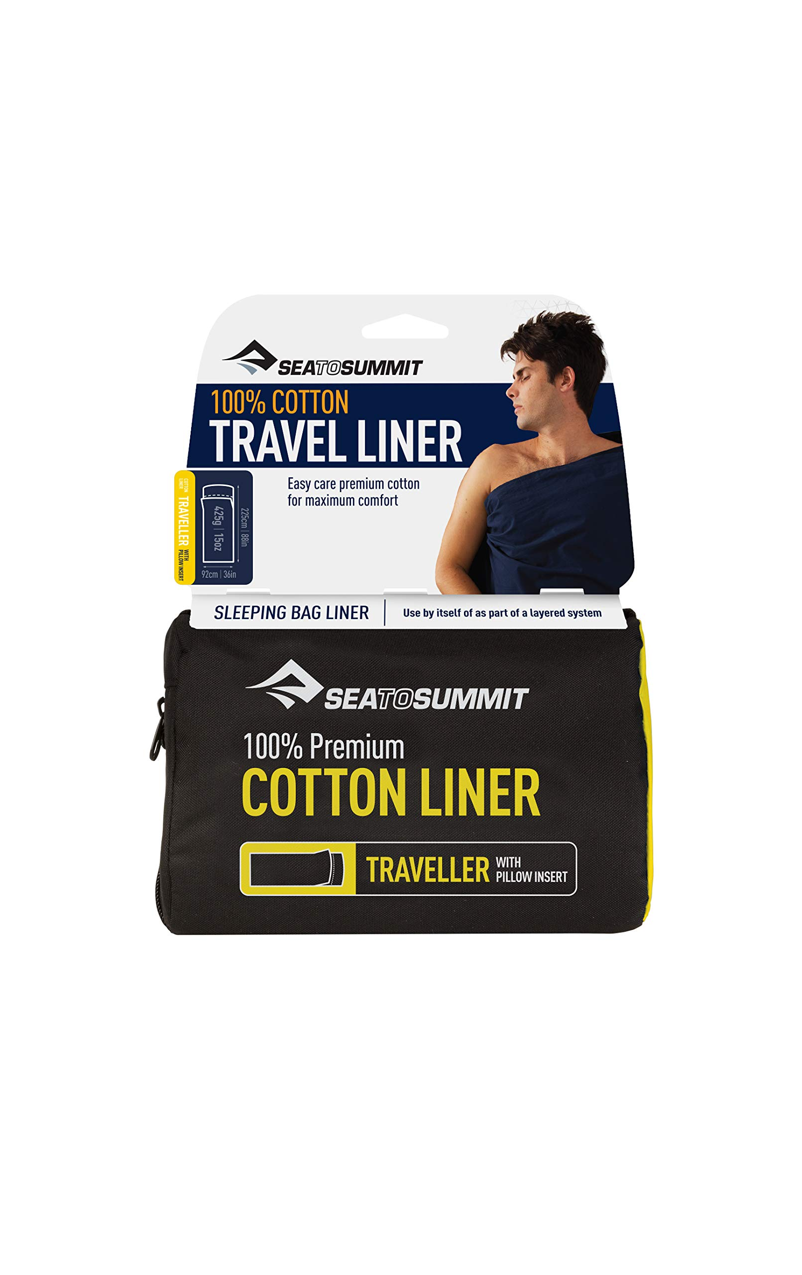 Sea to Summit Premium Cotton Travel Liner - Traveller (with Pillow Slip) Navy Blue by Sea to Summit