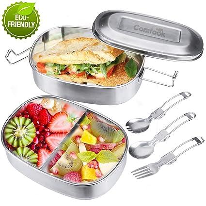 Fiambrera, Acero Inoxidable Fiambrera, Contenedores de Alimentos, Apta para lavavajillas Bento de Comida Caja de Almuerzo para con Tres Compartimentos ...