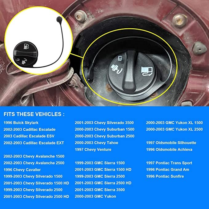 15763227 Fuel Tank Gas Cap Assembly Compatible with Buick Skylark Cadillac Escalade Chevy Avalanche Silverado Tahoe GMC Sierra Yukon and More Replace GT231