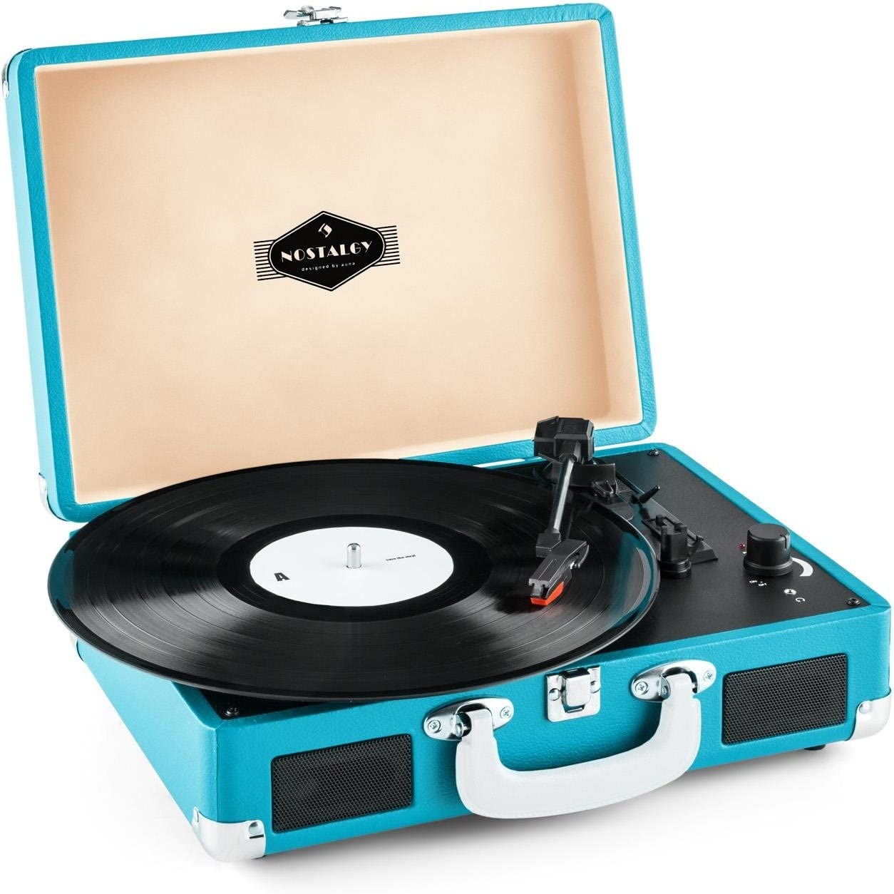 auna Peggy Sue Retro Record Player, Turntable with Built-in Stereo Speakers, Belt-Drive, USB-Port (B), Vinyl LP, Plays 33, 45 and 78 RPM Records, Digitization, Plug & Play, Portable Suitcase, Blue