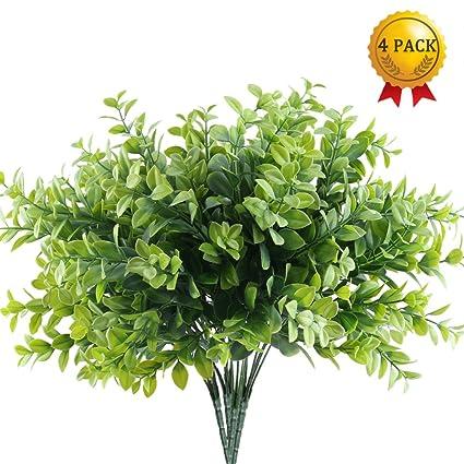 Nahuaa Plantas Verdes Artificiales 4pcs Arbustos De Plastico - Plantas-verdes-exterior