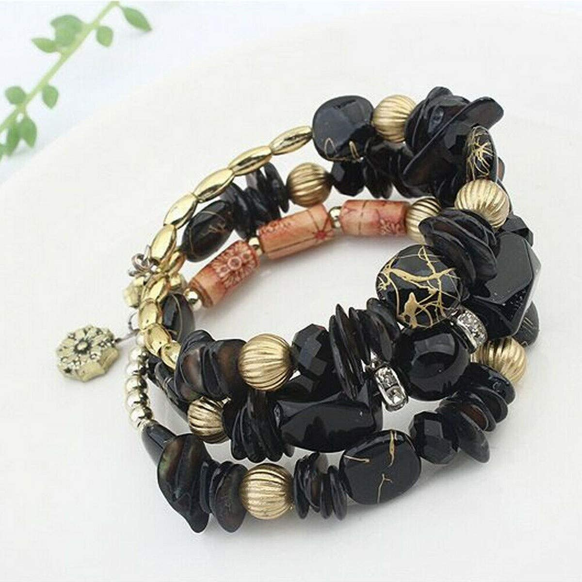 Brosco Women Boho Shell Glass Beads Multilayer Bracelet Bangle Beach Charms Jewelry Good Trendy Cute Accessory Best Jewerly | Color - Black