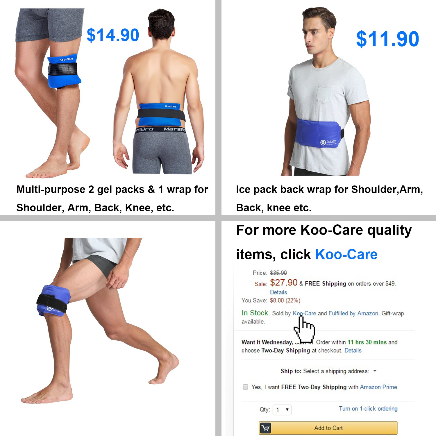 Koo-Care Large Flexible Gel Ice Pack & Wrap with Elastic Straps for Hot Cold Therapy - Great for Sprains, Muscle Pain, Bruises, Injuries - 11'' x 14'')