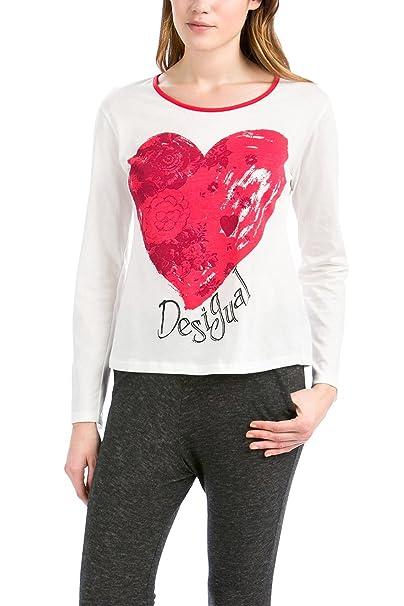 Desigual TS LS Heart - Camiseta de Mujer, 100% algodón, Estilo Blanco,