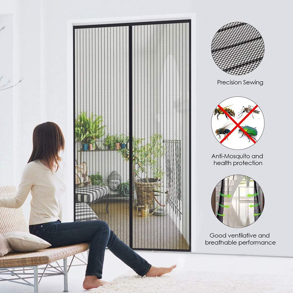 YNND Magnetic Fly Insect Screen Door, Mosquito Proof Curtain Magnet and Tape Waterproof Mosquito Net Black for Living Room Window Balcony Supports Customization
