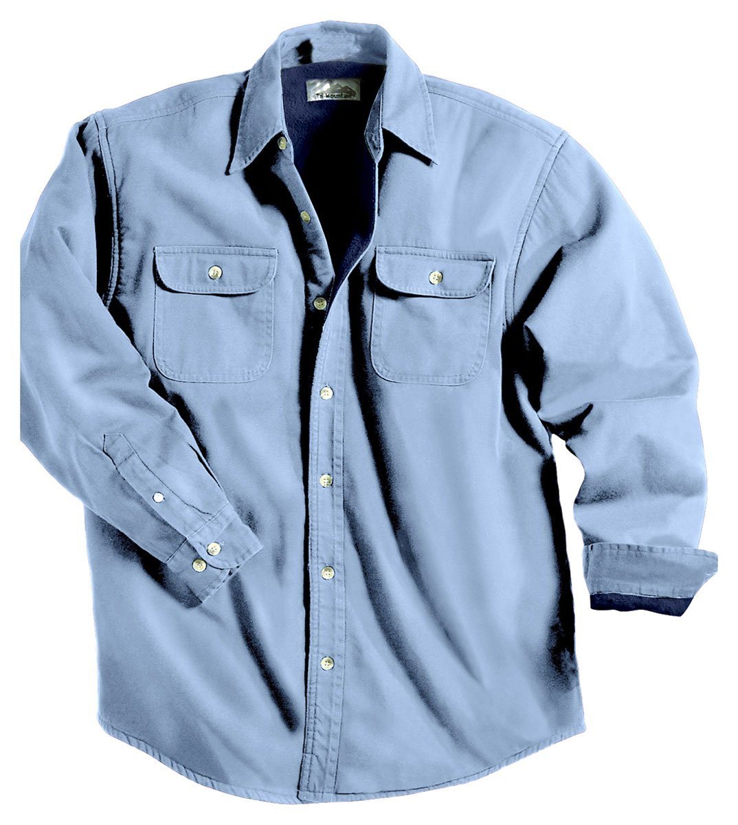 Tahoe Denim Shirt Jacket with Fleece Lining, Color: Light Indigo/Navy, Size: XX-Large Tall by Tri-Mountain