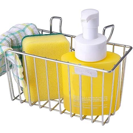 KENED Kitchen Sponge Holder, Kened Sink Caddy Organizer Brush Soap  Dishwashing Liquid Drainer Rack Cleaning Hanging Small Stainless Steel