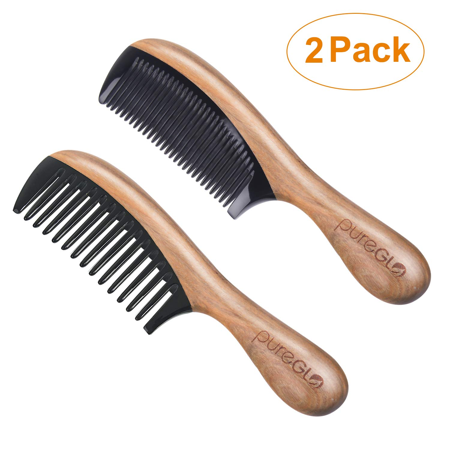 Wooden Hair Combs [Gift Box] - pureGLO Anti-Static Detangling Comb Set for Men Women Kids - Fine and Wide Tooth Combs for Straight Curly Wavy Dry Wet Thick or Fine Hair by pureGLO
