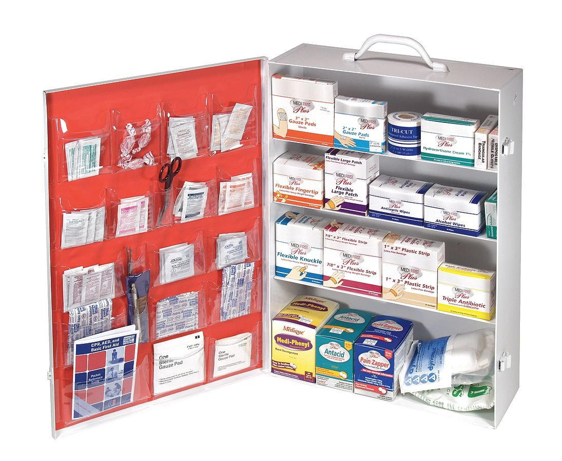 Medi-first First Aid Kit, Cabinet, Steel Case Material, General Purpose, 150 People Served Per Kit - 1 Each