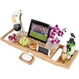 Luxury Bamboo Bathtub Caddy Tray,100% Natural Extendable Bamboo Wood Bath Tub Caddy Rack Built In Secure Tablet Kindle Ipad Smartphone Holder,Wine Glass Slots Bath Tray For Luxury Bath Fit Most Bath Sizes