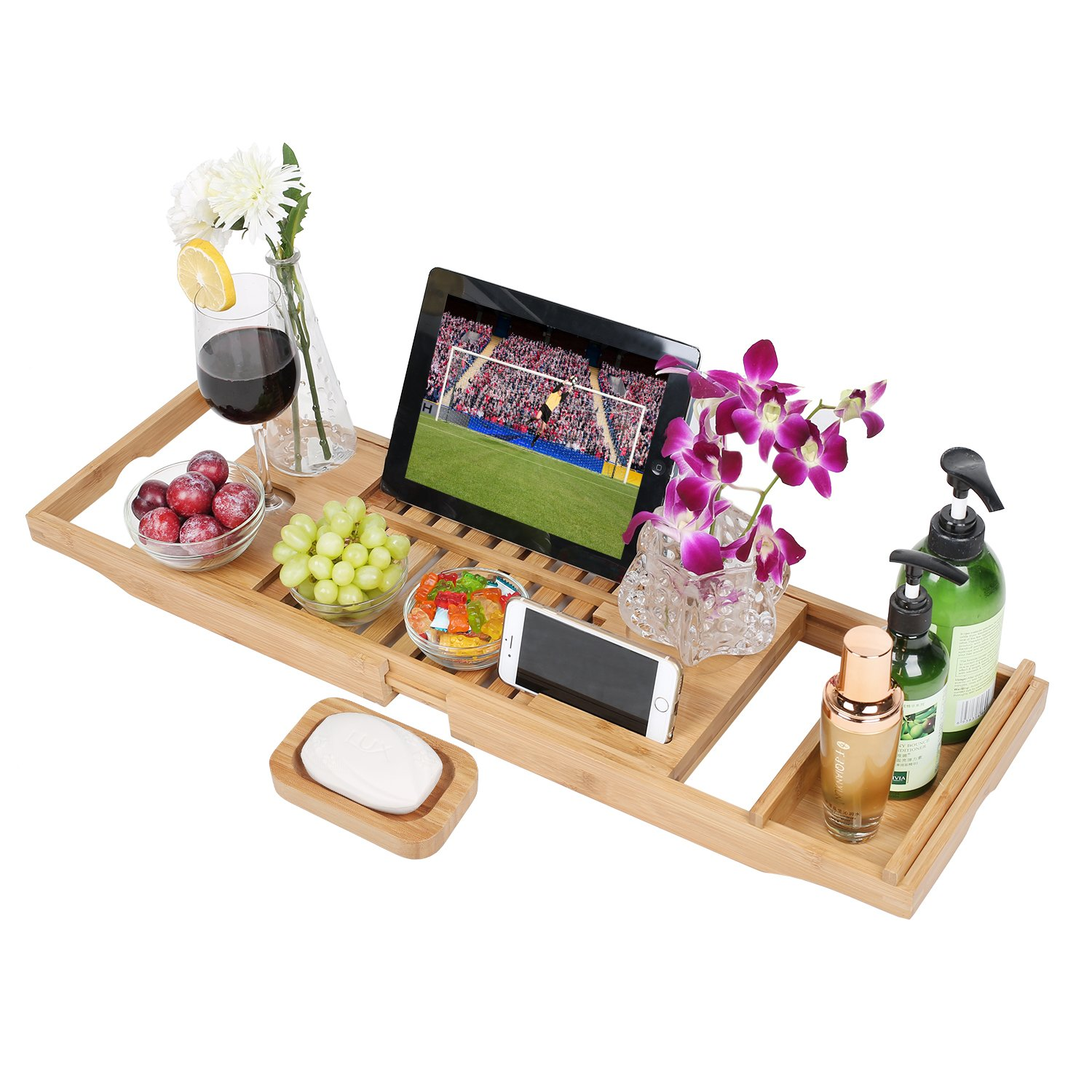 Luxury Bamboo Bathtub Caddy Tray,100% Natural Extendable Bamboo Wood Bath Tub Caddy Rack Built In Secure Tablet Kindle Ipad Smartphone Holder,Wine Glass Slots Bath Tray For Luxury Bath Fit Most Bath Sizes gohiking