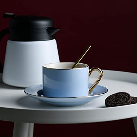 Artvigor 6 Juegos de Tazas de Café/Té de Porcelana Tazas de Cerámica, 200 ml, Juegos de Vajillas de Agua/Leche para Hogar, Oficina, Cafetería, Restaurante, ...