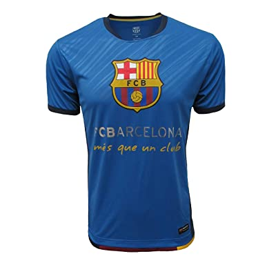 Official FC Barcelona Mens Crew Neck Short Sleeve Jersey T Shirt Top (Navy/Royal, Small) | .com