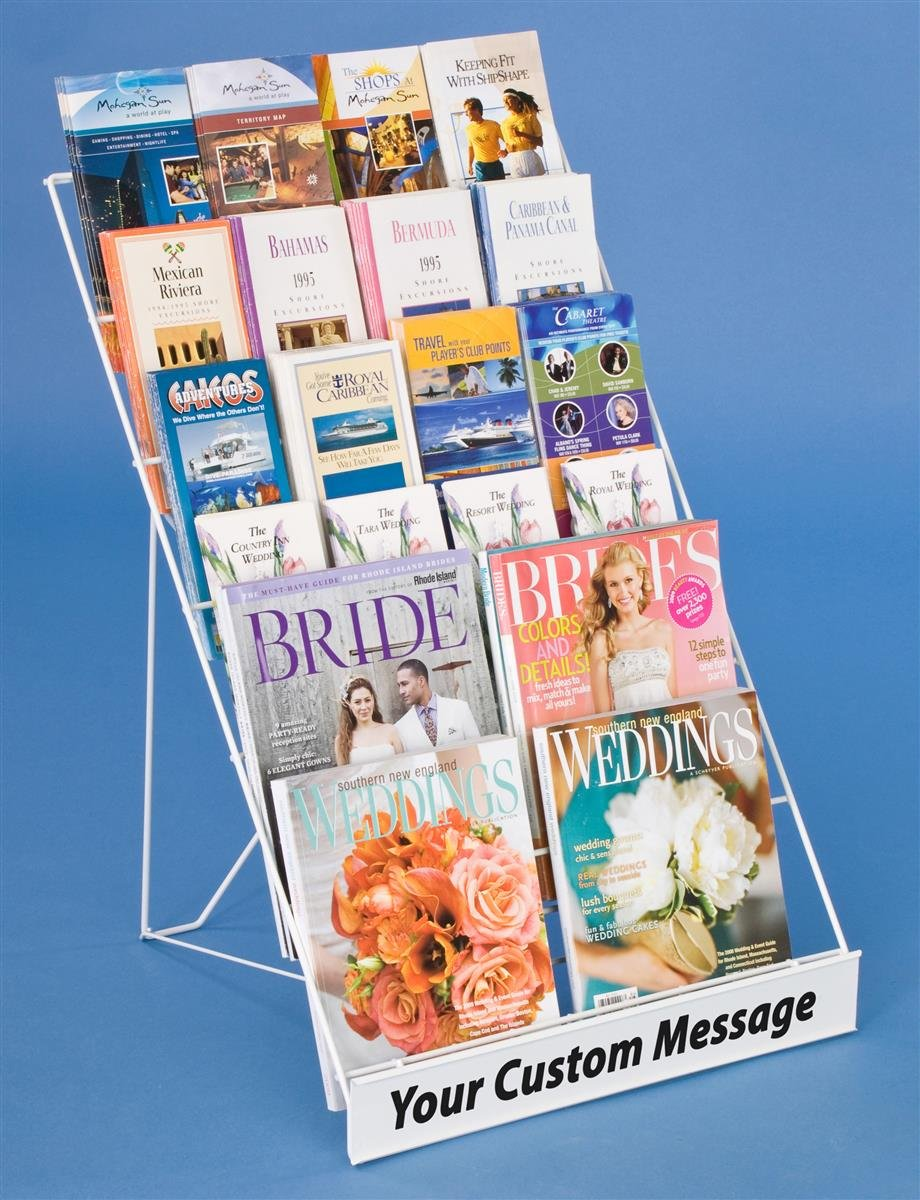 Displays2go Tabletop Literature Organizer for Magazines & Brochures, 6-Tiers, White Steel Wire (WRC6T18WT) George Patton Associates Inc