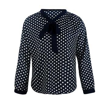 HOSOME Women Top Women Long Sleeve Chiffon Bowknot Shirt Casual V-Neck Dots Blouse Top