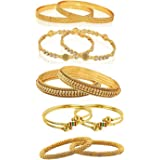 YouBella Jewellery Combo Of Five Gold Plated Wedding and Party Wear bangles for women traditional Bangles Set For Women and Girls