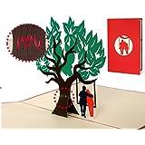 Biglietto san Valentino con albero e coppia innamorati su altalena a comparsa, invito matrimonio taglio laser con busta inclusa, elegante e romantico, rosso