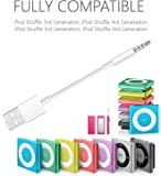 JIMAT Cable for iPod Shuffle Charger USB Cable 3.5mm Jack Male Audio Jack to USB 2.0 | Data Sync Cord & Charger | Compatible for iPod Shuffle 3 4 5 6 7 Gen MP3 Nano