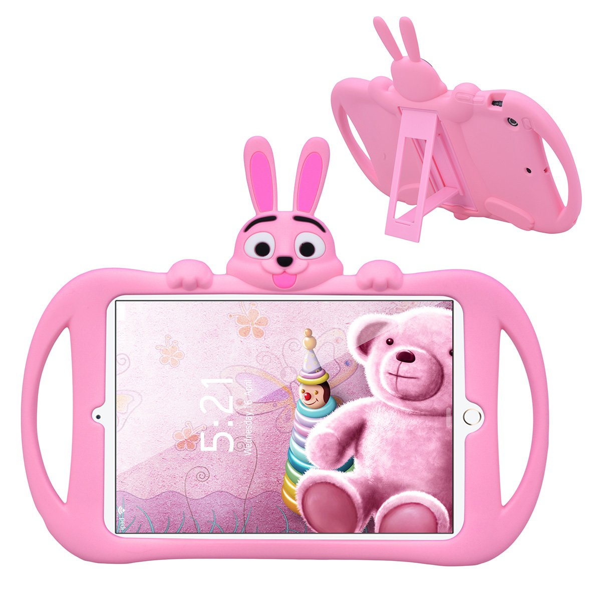 iPad Mini 1 2 3 Case, Dexnor Cute Rabbit Soft Waterproof Impact Resistant Protective Rubber Silicone Tablet Cover with Kickstand & Handle [Kid Safe] for iPad Mini/Mini 2 / Mini 3 - Pink