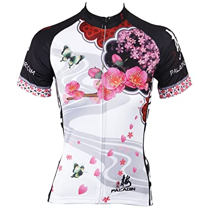a55387c4d Paladin Cycling Jersey for Women Short Sleeve Plum Flower Pattern Bike  Shirt Size M