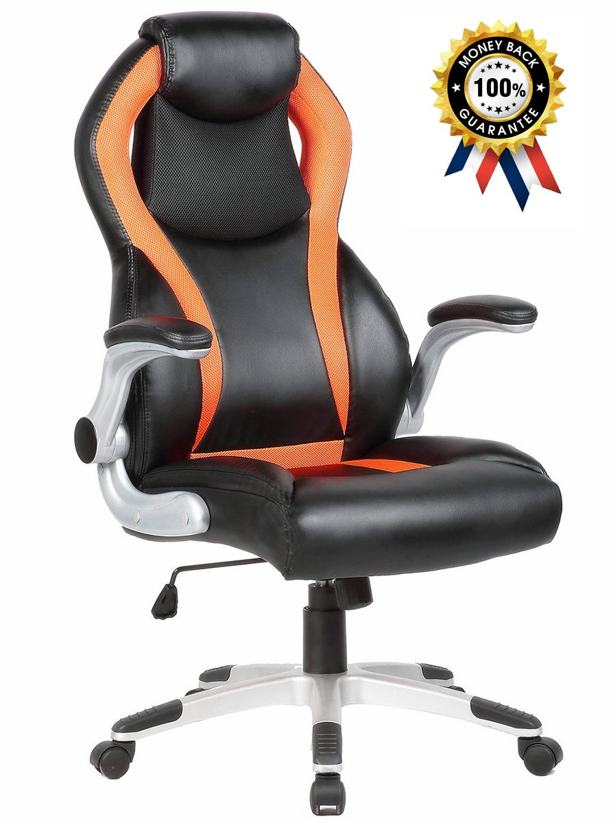 Racing Car Style Bucket Seat Computer Chair for Working, Studying, E-sports Use, Orange and Black