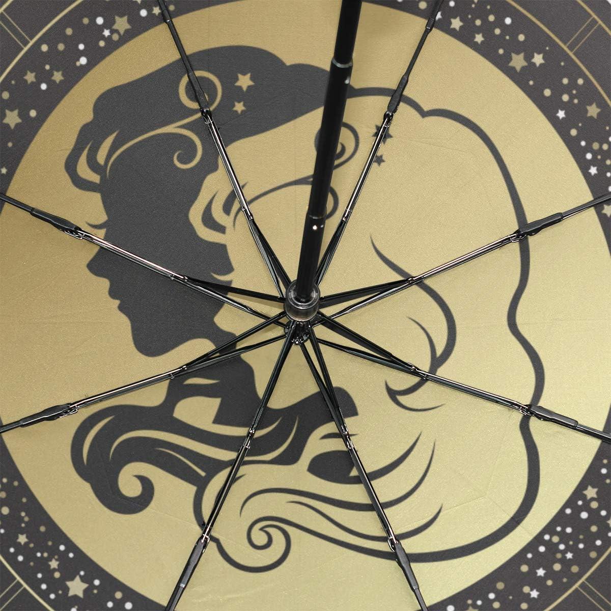 Sun Rain Umbrella Zodiac Zodiac Sign Gemini Portable Compact Folding Umbrella Anti Uv Protection Windproof Outdoor Travel Women Fancy Umbrella