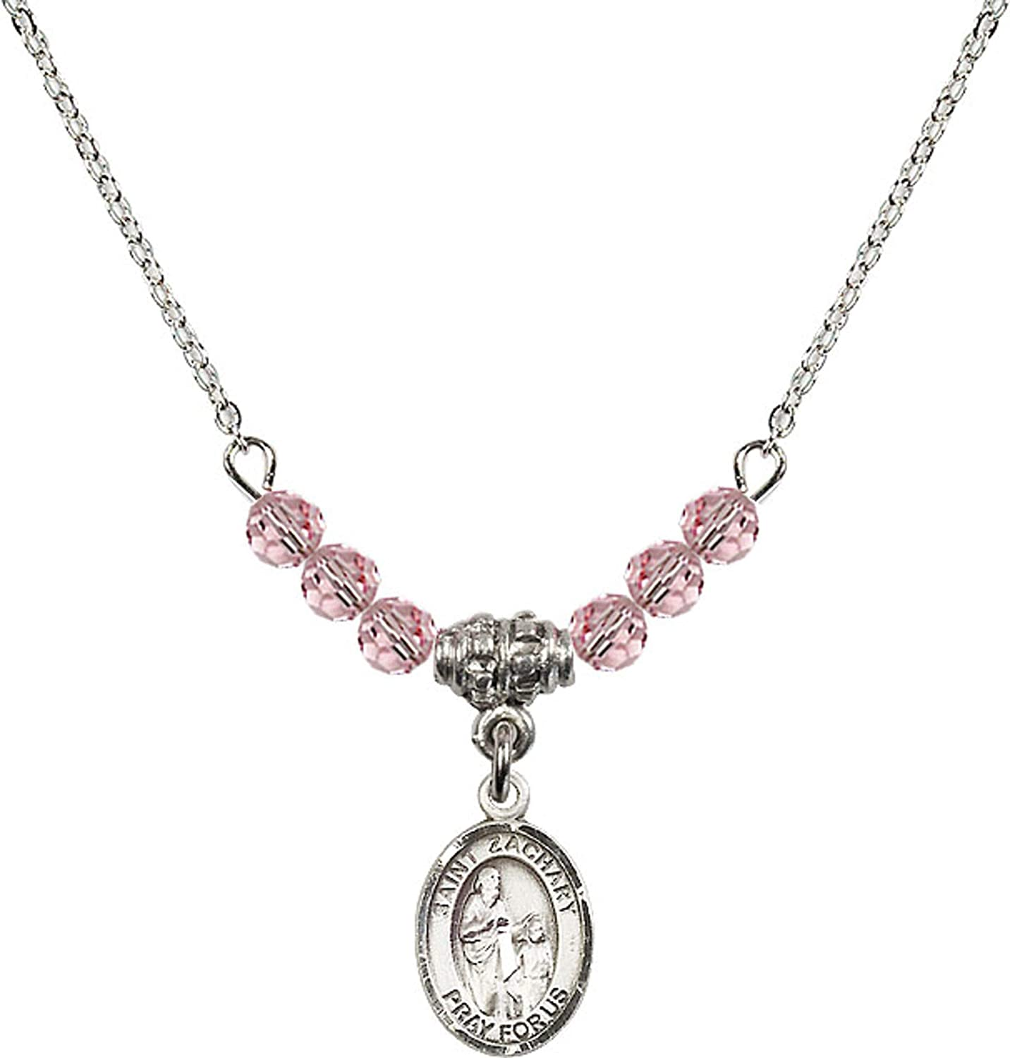 Bonyak Jewelry 18 Inch Rhodium Plated Necklace w// 4mm Light Rose Pink October Birth Month Stone Beads and Saint Zachary Charm