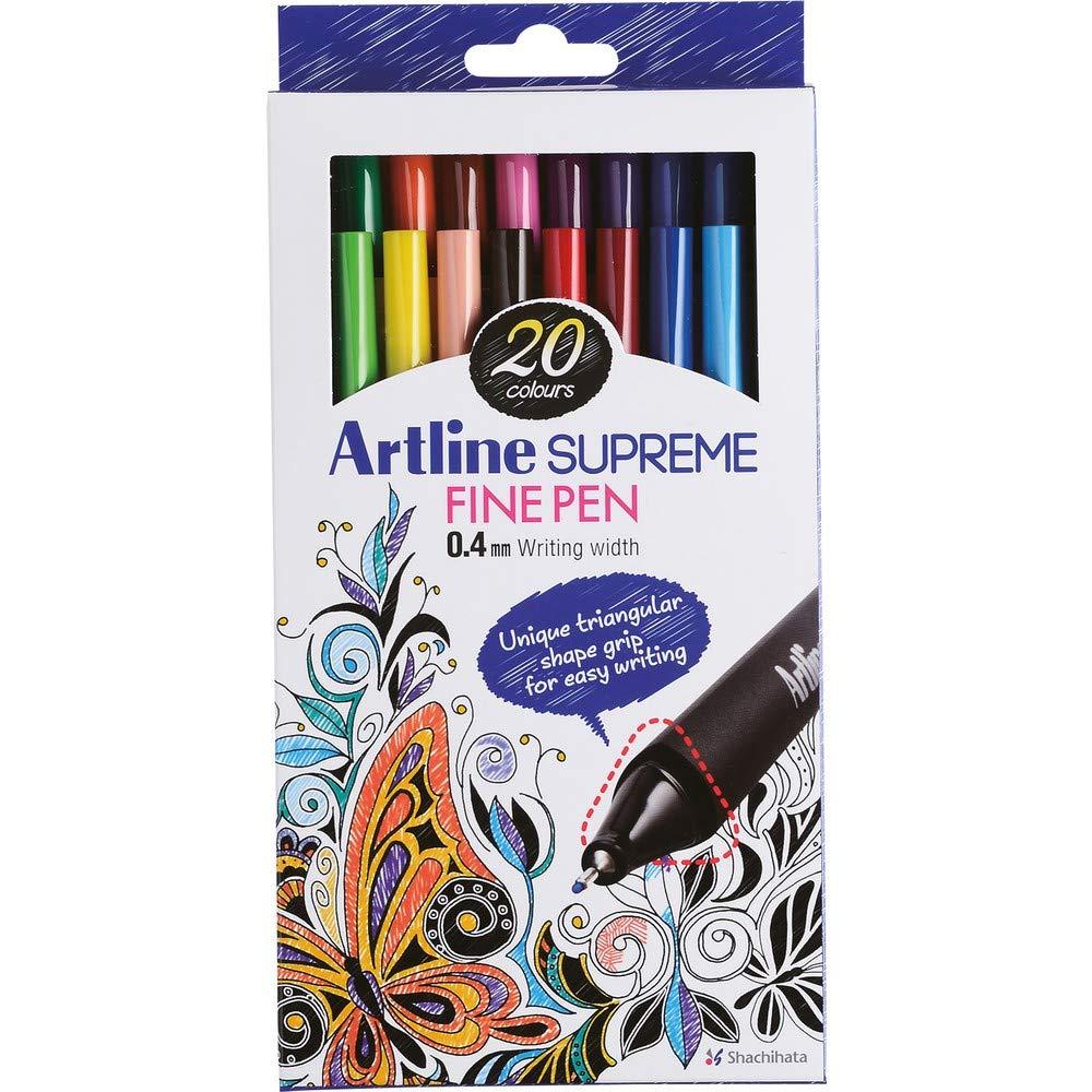 Artline 'Supreme Fine Pen' Fineliner Pens 0.4mm - Bright Vivid Colors For Technical Drawing - Pack 20