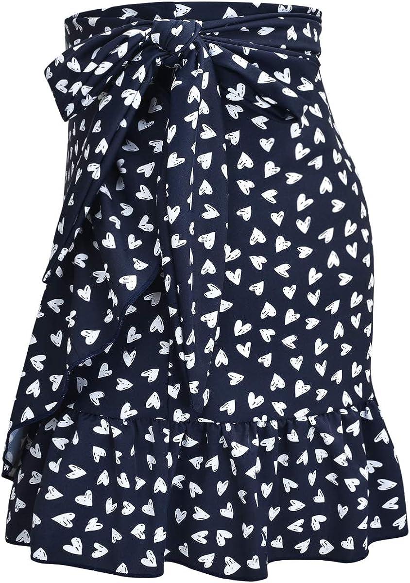 ChinFun Womens Ruffle Sarongs Beach Wrap Swimwear Bikini Tankini Cover Up Swim Skirts Swimdress