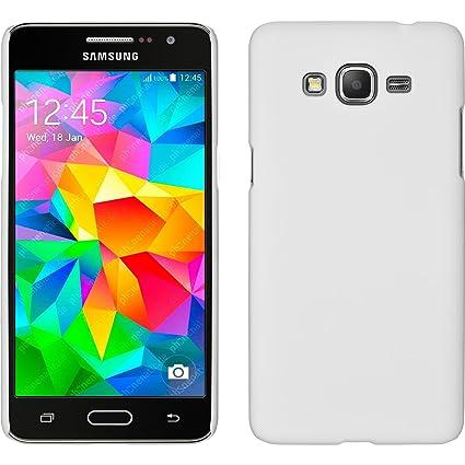 PhoneNatic Funda Rígida Compatible con Samsung Galaxy Grand Prime - Goma Blanco - Cover Cubierta + Protector de Pantalla